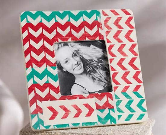 Chevron stenciled DIY photo frame