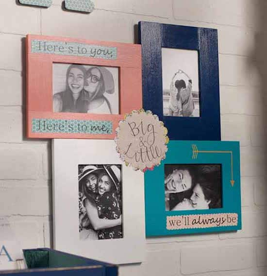 Wooden picture frames collage