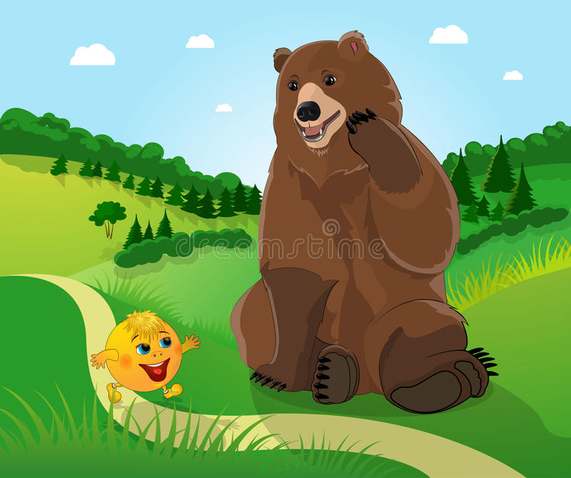 Bear and bun kolobok. Kolobok and a bear in the background of the forest stock illustration
