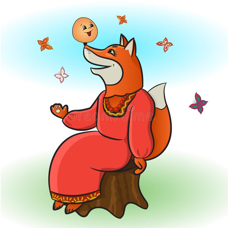 Russian folk tale about a kolobok. The bun. A cunning fox from Kolobok s fairy tale. Russian creativity. Funny pictures with animals and a fictional character. A royalty free illustration