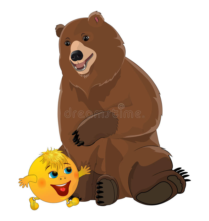 Bun kolobok and bear. On white background stock illustration