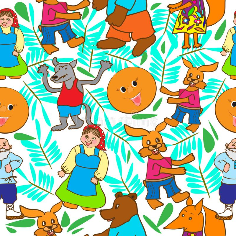 Children`s drawing in the form of a pattern from the fairy tale Kolobok. Illustration from the fairy tale Kolobok in the form of a pattern with the characters vector illustration
