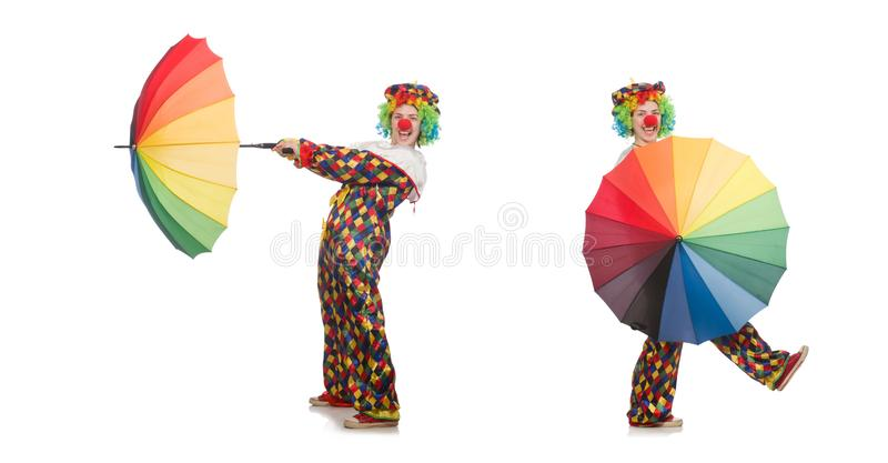 The clown with umbrella isolated on white. Clown with umbrella isolated on white royalty free stock photography