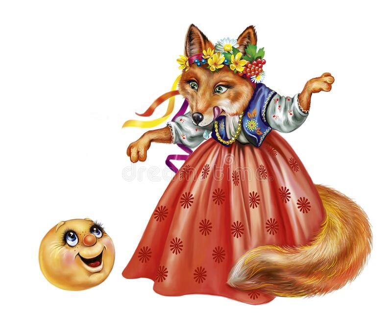 Fox and gingerbread man. Fairy tale `the bun`, funny protagonist and fox, isolated characters on a white background royalty free illustration