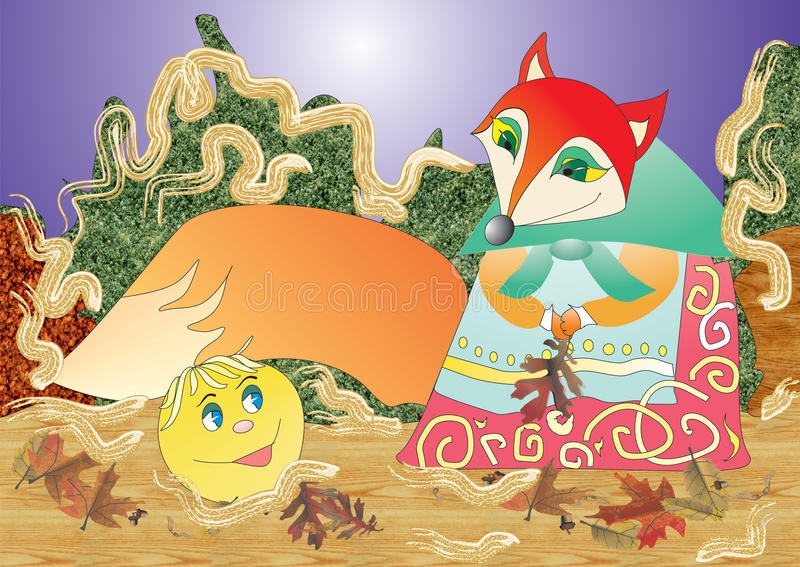 Fox and Kolobok. Fairy tale characters. Fox and Kolobok. Fairy tale characters for cards and design vector illustration
