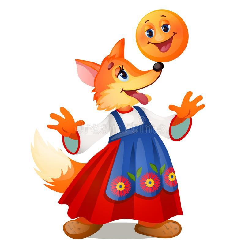 Fox in traditional Russian dress, and a smiling the bun isolated on white background. Characters of Russian fairy tales. Vector cartoon close-up illustration vector illustration