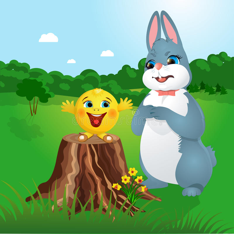 Kolobok Gingerbread Man and Bunny. In the forest vector illustration