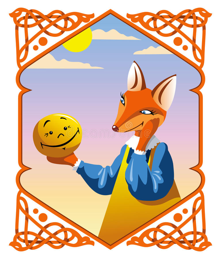 The little Bun and the Fox. Russian national fairy tale The little Bun, the Fox wants to eat him, vector illustration vector illustration