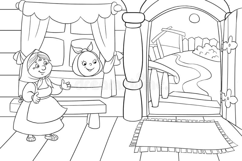 Russian fairytale bun. Russian fairy tale bun. children`s illustration.coloring book for children 2-4 years royalty free illustration