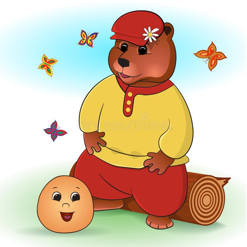 Russian folk tale about a kolobok. A bear from a fairy tale Kolobok.. Russian creativity. Funny pictures with animals and a fictional character. For young stock illustration