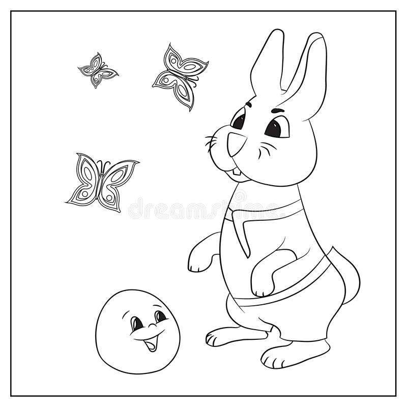 Russian folk tale about kolobok. Coloring. Pictures for coloring with colored pencils, paints. Russian creativity. Funny pictures with animals and a fictional vector illustration