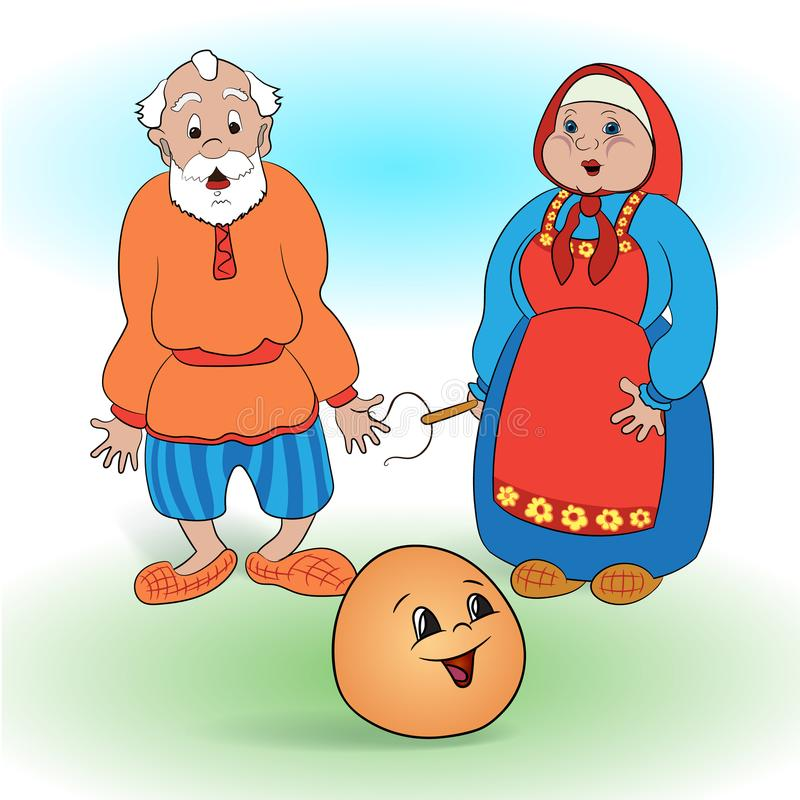 Russian folk tale about a kolobok. Grandfather and grandmother from the fairy tale Kolobok stock illustration