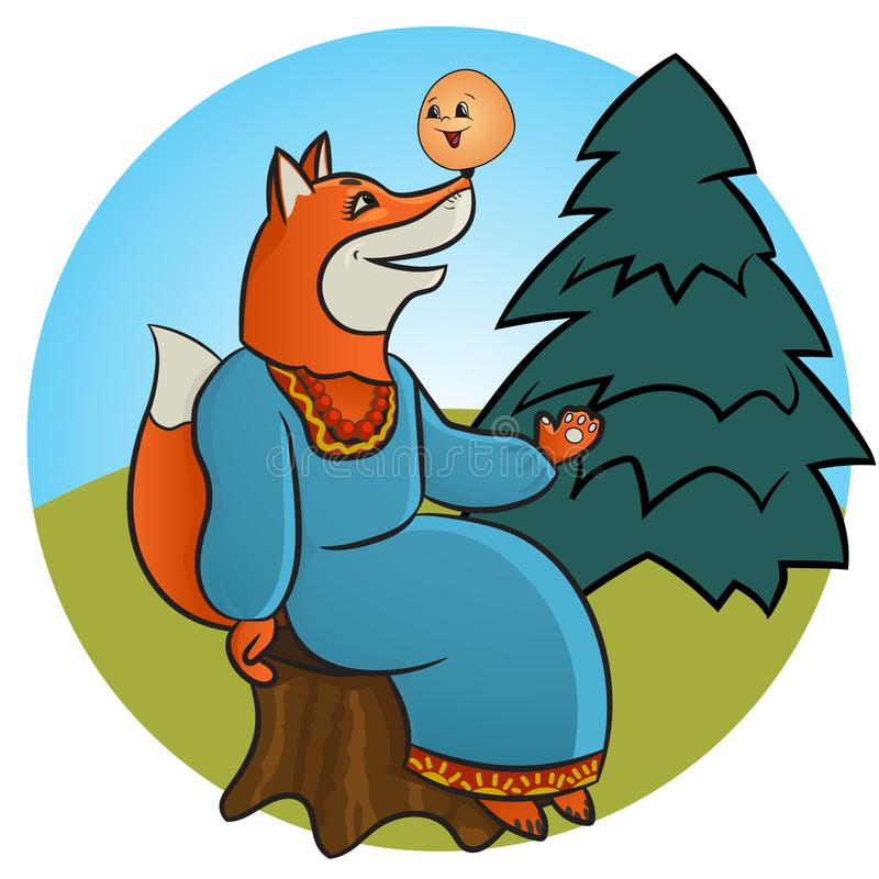 Russian folk tale about a kolobok. Tale of Kolobok. Russian creativity. Funny pictures with animals and a fictional character. For young children. To read the vector illustration