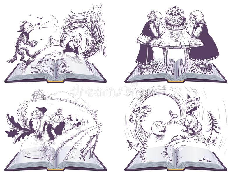 Russian folk tales set open book illustration. Vector isolated on white vector illustration
