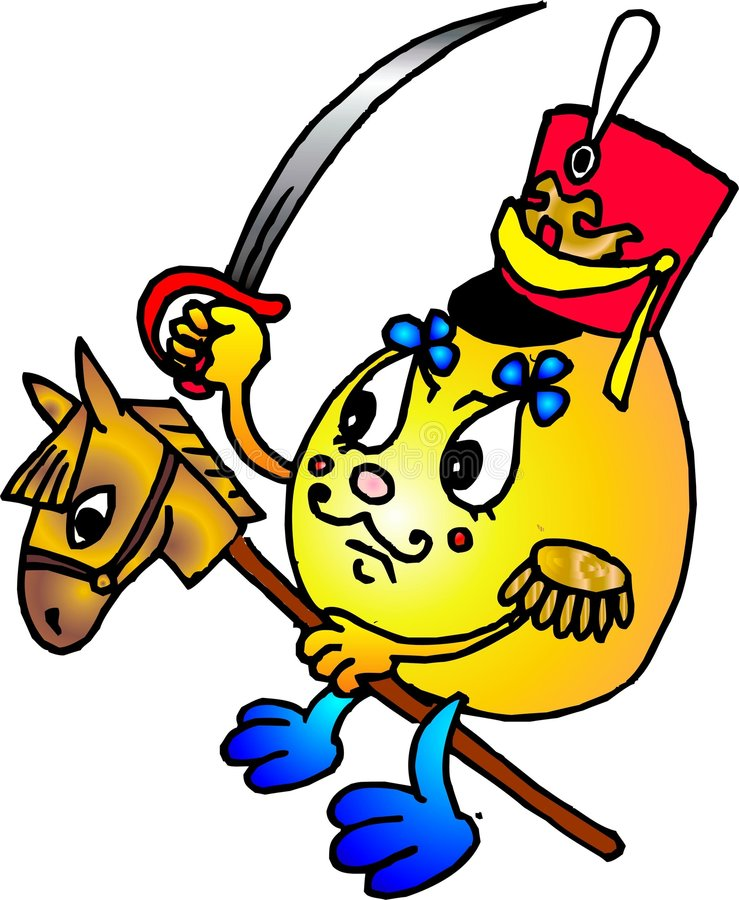 Russian kolobok. In uniform of cavalier on the toy horse vector illustration