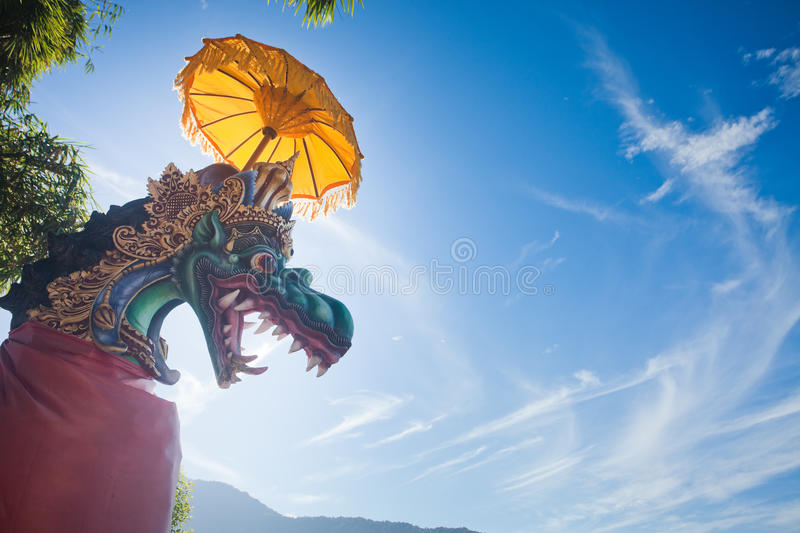 Unusual background of mystical dragon. Unusual blue background of mystical dragon, there is copy space stock images