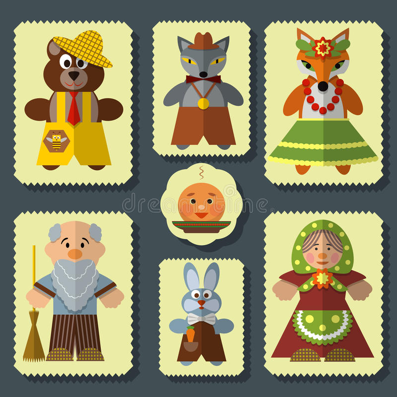 Vector set of The Bun russian folk fairy tale characters. Vector set of Kolobok, The Bun russian folk fairy tale for kids characters. Flat style design elements vector illustration