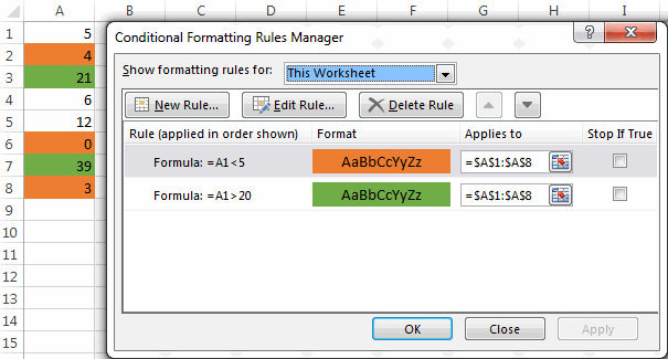 Using logical operator in Excel conditional formatting