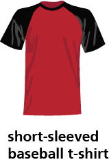 illustration of a short-sleeved baseball t-shirt
