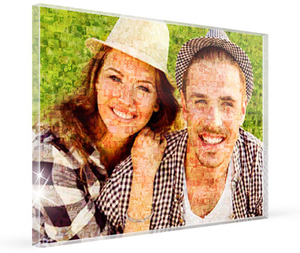 mosaic photo of a couple on an acrylic glas